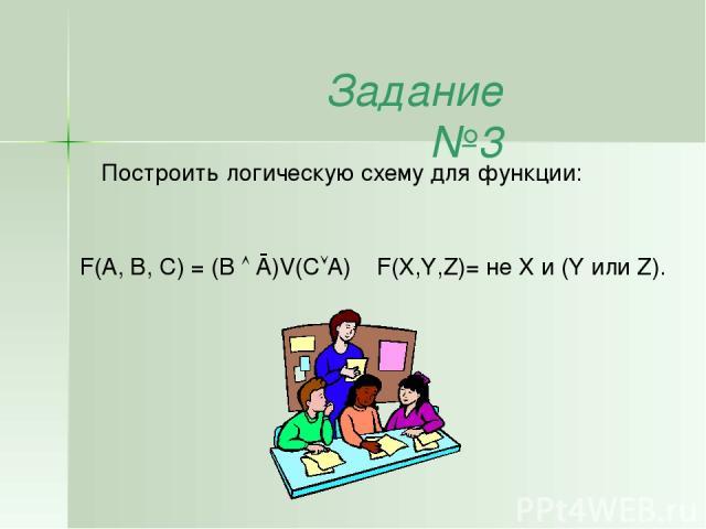 Задание №3 Построить логическую схему для функции: F(X,Y,Z)= не X и (Y или Z). F(A, B, С) = (B Ā)V(С A)