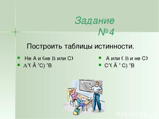 Задание №4 Построить таблицы истинности. A или и не C С Ā C) B Не A и не или C Ā C) B
