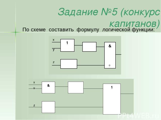 Задание №5 (конкурс капитанов) По схеме составить формулу логической функции: