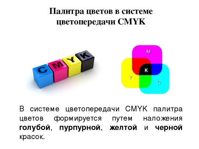 Палитра цветов в системе цветопередачи CMYK В системе цветопередачи CMYK палитра цветов формируется путем наложения голубой, пурпурной, желтой и черной красок.