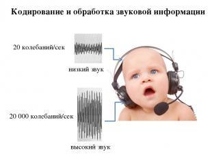 Кодирование и обработка звуковой информации 20 колебаний/сек 20 000 колебаний/се