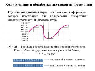 Кодирование и обработка звуковой информации Глубина кодирования звука – количест
