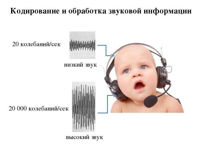 Кодирование и обработка звуковой информации 20 колебаний/сек 20 000 колебаний/сек низкий звук высокий звук