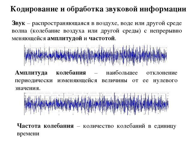 Кодирование и обработка звуковой информации Звук – распространяющаяся в воздухе, воде или другой среде волна (колебание воздуха или другой среды) с непрерывно меняющейся амплитудой и частотой. Амплитуда колебания – наибольшее отклонение периодически…
