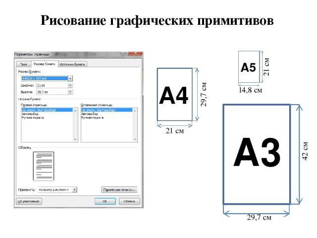 Рисование графических примитивов 21 см 29,7 см 21 см 42 см 14,8 см 29,7 см А4 А3 А5