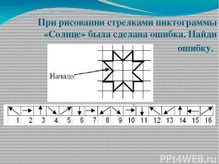 При рисовании стрелками пиктограммы «Солнце» была сделана ошибка. Найди ошибку.