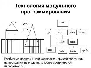 Технология модульного программирования Разбиение программного комплекса (при его
