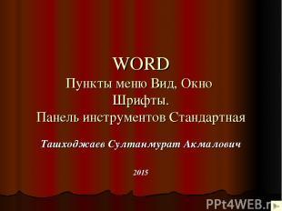 WORD Пункты меню Вид, Окно Шрифты. Панель инструментов Стандартная Ташходжаев Су