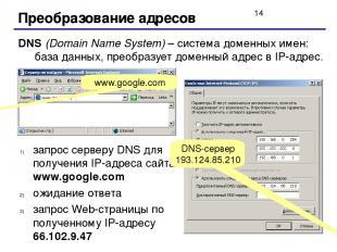 Преобразование адресов DNS (Domain Name System) – система доменных имен: база да