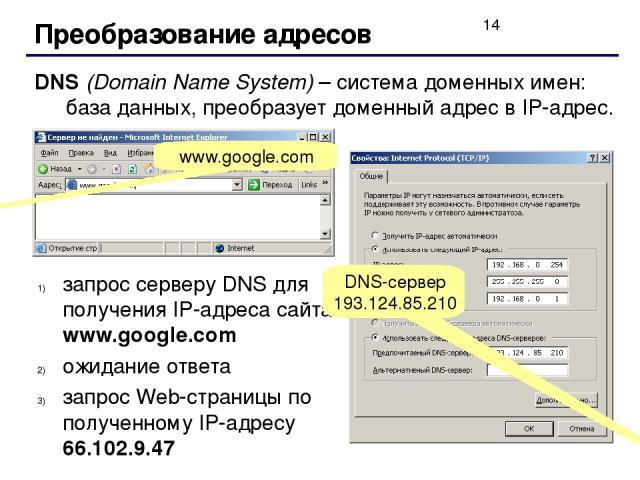 Преобразование адресов DNS (Domain Name System) – система доменных имен: база данных, преобразует доменный адрес в IP-адрес. www.google.com запрос серверу DNS для получения IP-адреса сайта www.google.com ожидание ответа запрос Web-страницы по получе…