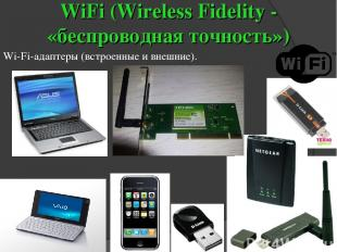WiFi (Wireless Fidelity - «беспроводная точность») Wi-Fi-адаптеры (встроенные и