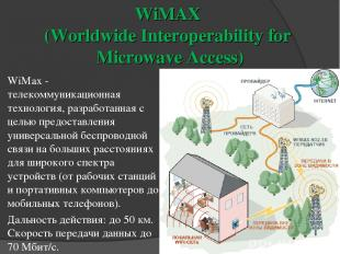WiMAX (Worldwide Interoperability for Microwave Access) WiMax - телекоммуникацио