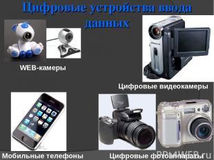 Цифровые устройства ввода данных WEB-камеры Мобильные телефоны Цифровые фотоаппа
