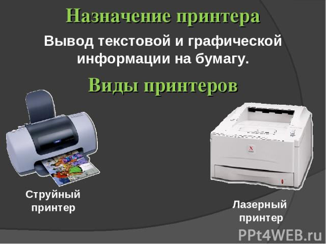 Вывод текстовой и графической информации на бумагу. Назначение принтера Виды принтеров Лазерный принтер Струйный принтер
