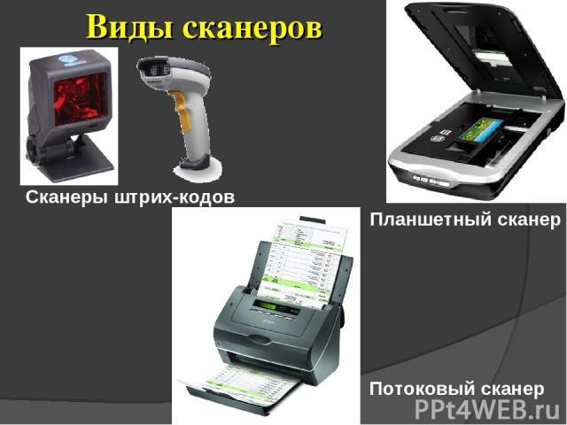 Виды сканеров Планшетный сканер Потоковый сканер Сканеры штрих-кодов