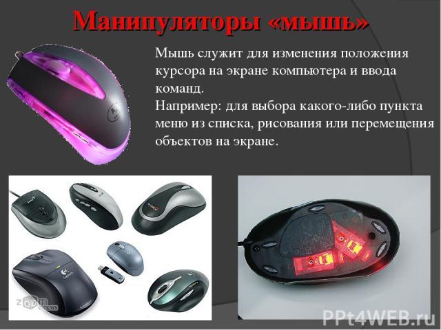 Мышь служит для изменения положения курсора на экране компьютера и ввода команд. Например: для выбора какого-либо пункта меню из списка, рисования или перемещения объектов на экране. Манипуляторы «мышь»