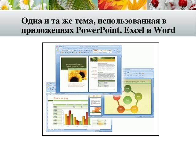 Одна и та же тема, использованная в приложениях PowerPoint, Excel и Word
