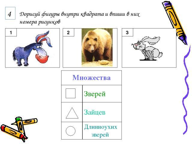 4 Дорисуй фигуры внутри квадрата и впиши в них номера рисунков Множества Зверей Зайцев Длинноухих зверей