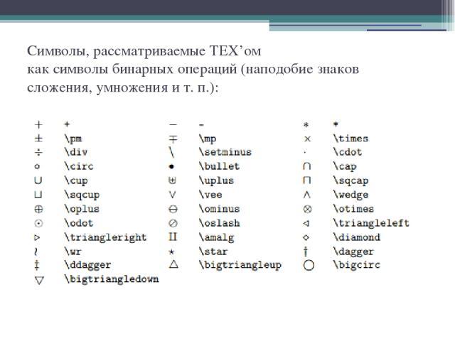Символы, рассматриваемые TEX'ом как символы бинарных операций (наподобие знаков сложения, умножения и т. п.):