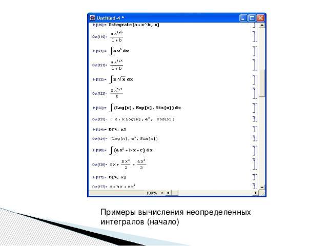 Примеры вычисления неопределенных интегралов (начало)