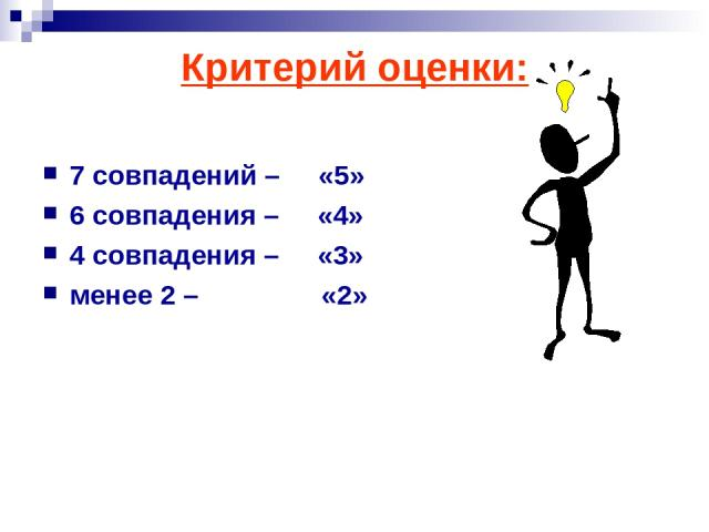 Критерий оценки: 7 совпадений – «5» 6 совпадения – «4» 4 совпадения – «3» менее 2 – «2»