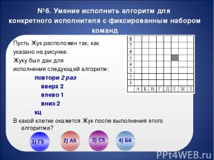 №6. Умение исполнить алгоритм для конкретного исполнителя с фиксированным наборо