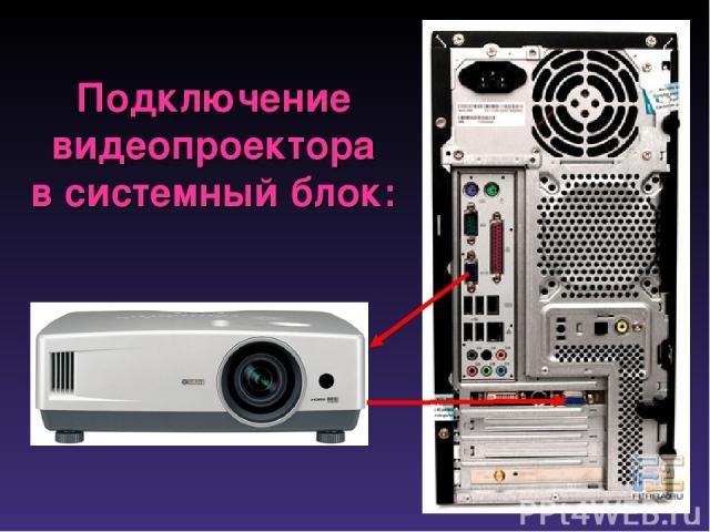 Подключение видеопроектора в системный блок: