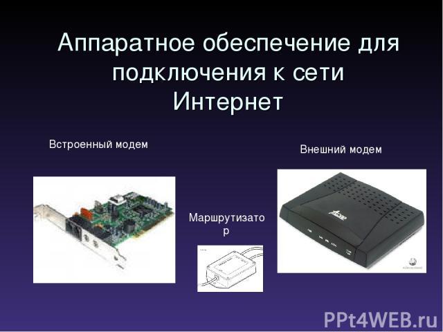 Аппаратное обеспечение для подключения к сети Интернет Встроенный модем Внешний модем Маршрутизатор