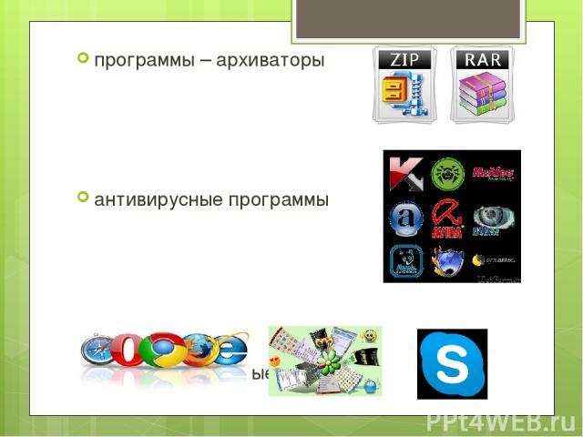 программы – архиваторы антивирусные программы коммуникационные программы