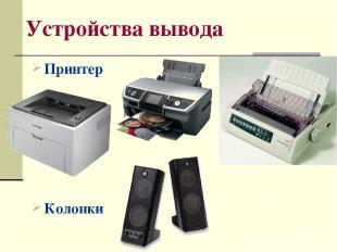Устройства вывода Принтер Колонки