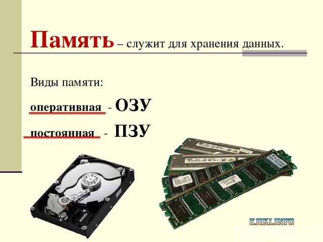 Память – служит для хранения данных. Виды памяти: оперативная - ОЗУ постоянная - ПЗУ