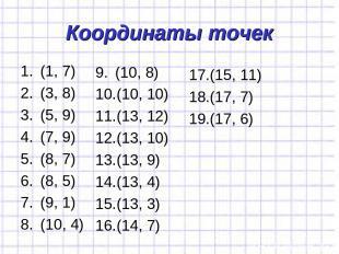 Координаты точек (1, 7) (3, 8) (5, 9) (7, 9) (8, 7) (8, 5) (9, 1) (10, 4) (10, 8