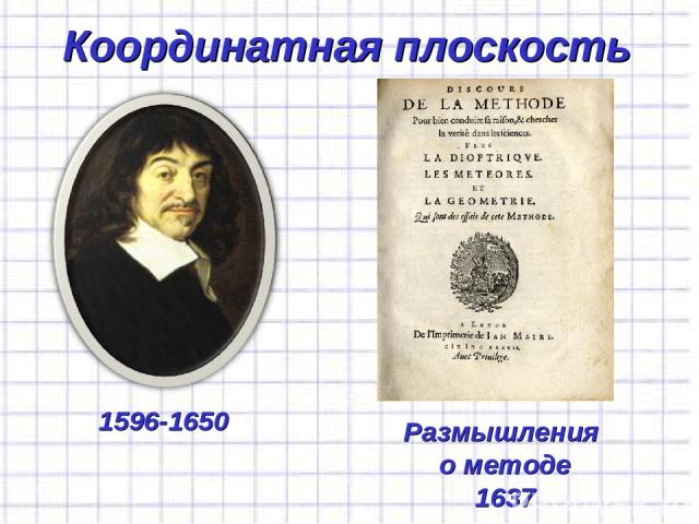 Координатная плоскость 1596-1650 Размышления о методе 1637