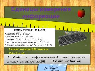 Единицы измерения информации КОМПЬЮТЕРНЫЙ АЛФАВИТ русские (РУС) буквы латинские