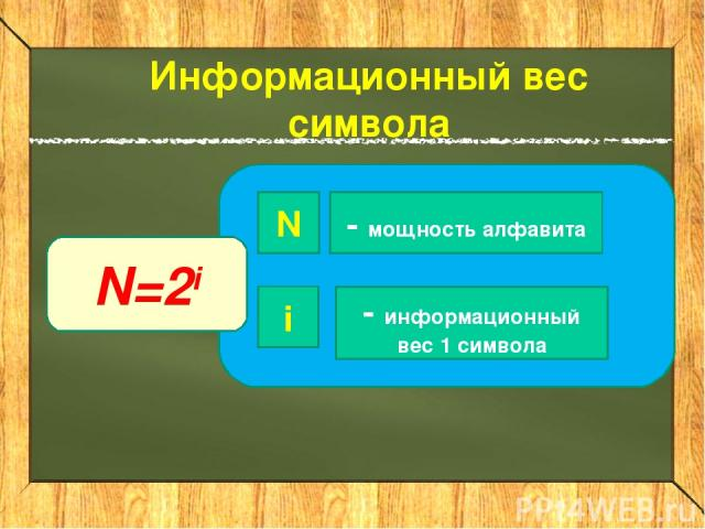 Информационный вес символа N=2i N i - мощность алфавита - информационный вес 1 символа