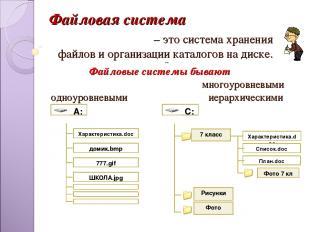 – это система хранения файлов и организации каталогов на диске. --- Файловые сис