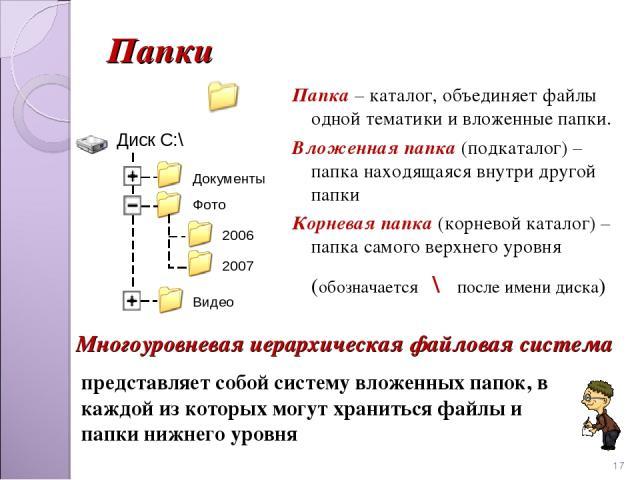 Папки Папка – каталог, объединяет файлы одной тематики и вложенные папки. Вложенная папка (подкаталог) – папка находящаяся внутри другой папки Корневая папка (корневой каталог) – папка самого верхнего уровня (обозначается \ после имени диска) * пред…