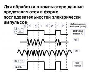 Для обработки в компьютере данные представляются в форме последовательностей эле