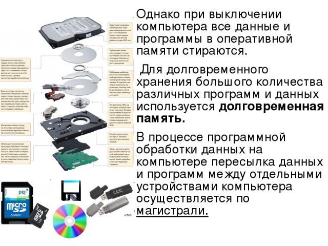 Однако при выключении компьютера все данные и программы в оперативной памяти стираются. Для долговременного хранения большого количества различных программ и данных используется долговременная память. В процессе программной обработки данных на компь…
