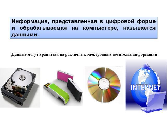 Информация, представленная в цифровой форме и обрабатываемая на компьютере, называется данными. Данные могут храниться на различных электронных носителях информации