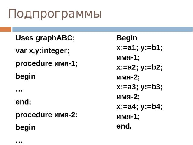Подпрограммы Uses graphABC; var x,y:integer; procedure имя-1; begin … end; procedure имя-2; begin … End; Begin x:=a1; y:=b1; имя-1; x:=a2; y:=b2; имя-2; x:=a3; y:=b3; имя-2; x:=a4; y:=b4; имя-1; end.