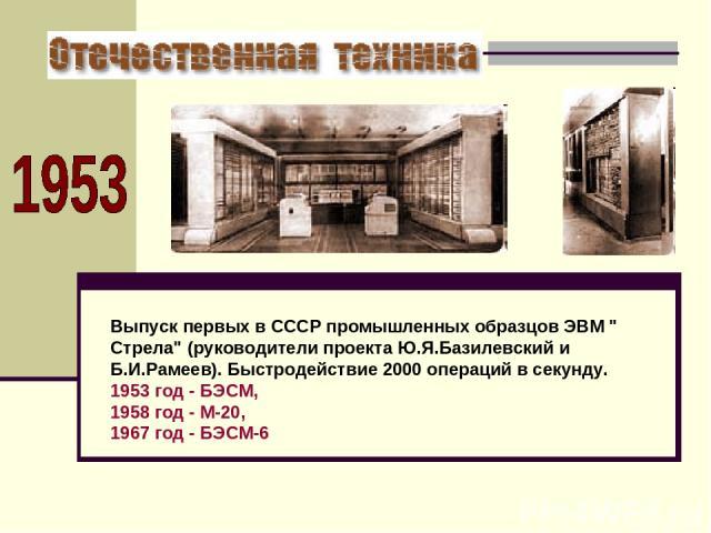 Выпуск первых в СССР промышленных образцов ЭВМ