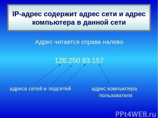 Адрес читается справа налево 128.250.83.157 адреса сетей и подсетей адрес компью
