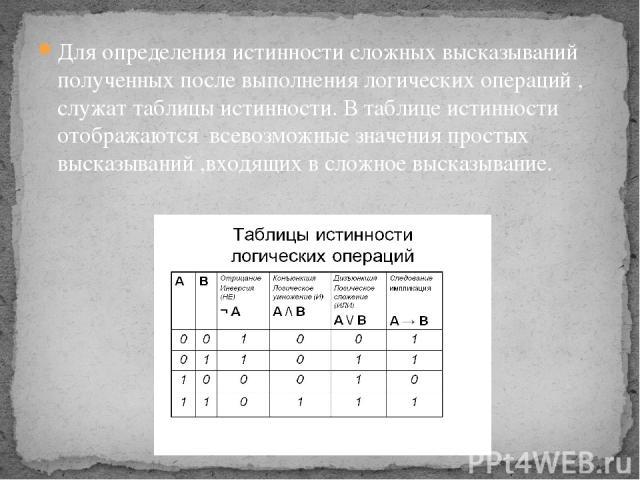 Для определения истинности сложных высказываний полученных после выполнения логических операций , служат таблицы истинности. В таблице истинности отображаются всевозможные значения простых высказываний ,входящих в сложное высказывание.