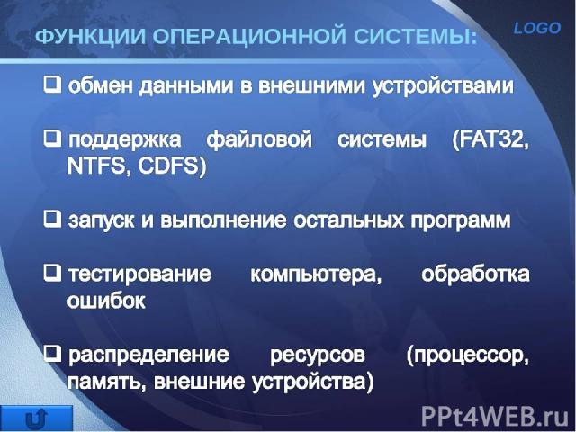 ФУНКЦИИ ОПЕРАЦИОННОЙ СИСТЕМЫ: LOGO
