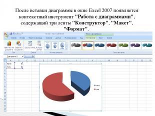 """После вставки диаграммы в окне Excel 2007 появляется контекстный инструмент """"Раб"""