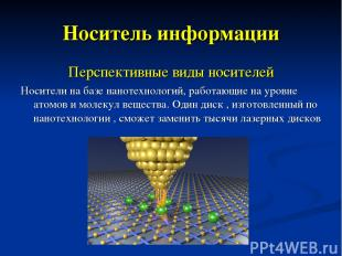 Носитель информации Перспективные виды носителей Носители на базе нанотехнологий