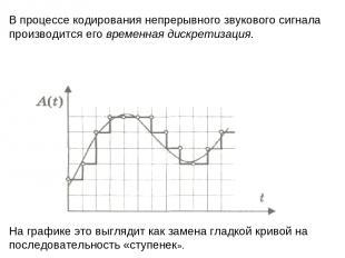 В процессе кодирования непрерывного звукового сигнала производится его временная
