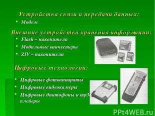 Устройства связи и передачи данных: Модем Внешние устройства хранения информации