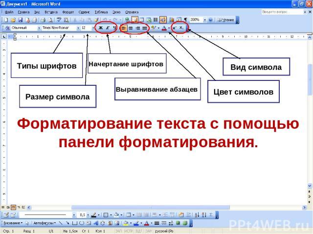 Форматирование текста с помощью панели форматирования. Типы шрифтов Размер символа Выравнивание абзацев Цвет символов Вид символа Начертание шрифтов
